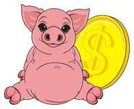 Pig and big coin Stock Photography
