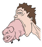 Pig and big mouth Stock Photos