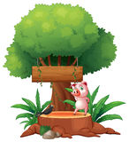 A pig and a bird above a stump in front of a wooden signboard Stock Images