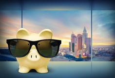 Pig. Bizarre Savings Glasses Tax Cool Euro Symbol Royalty Free Stock Photography