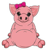 Pig with bow Stock Photo