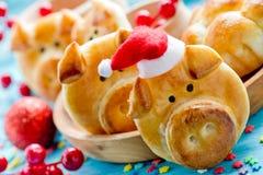 Pig bread buns, funny baking idea shaped cute piggy faces royalty free stock photo
