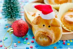 Pig bread buns, funny baking idea shaped cute piggy faces. Symbolic food for new year 2019 royalty free stock photos
