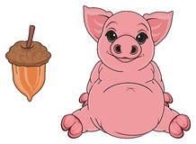 Pig with brwon food Royalty Free Stock Image