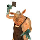 A pig is a butcher. 3D Rendering A pig is a butcher Royalty Free Stock Photo