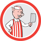 Pig Butcher Holding Knife Cartoon Royalty Free Stock Image