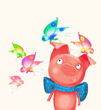 Pig with the butterfly Royalty Free Stock Image