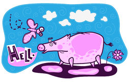 Pig, butterfly and flower Stock Image