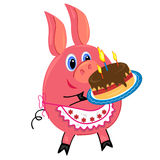 Pig with cake illustration.isolated character Royalty Free Stock Photos
