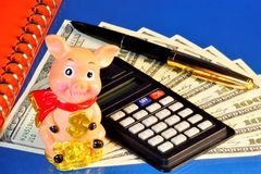 Pig calculating animal in a festive cheerful mood, able to anticipate events, a symbol of well-being. Notebook for important. Records, pen, calculator for stock images