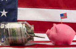 Pig came to eat money Stock Photo