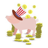 Pig cap in the hat with the flutter of the American flag. And a lot of gold coins. MONEY TO PICK UP. Illustration for your design Royalty Free Stock Photo