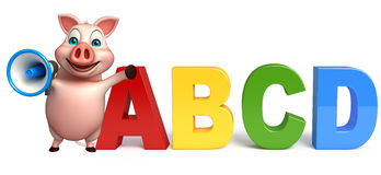 Pig cartoon character with abcd sign  and loud speaker Royalty Free Stock Images