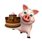 Pig cartoon character with cake Stock Image