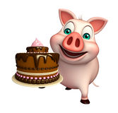 Pig cartoon character with cake Royalty Free Stock Photography