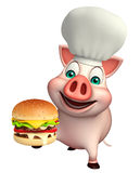 Pig cartoon character with chef hat and burger. 3d rendered illustration of Pig cartoon character with chef hat and burger Royalty Free Stock Photo