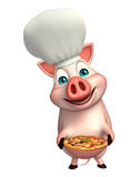 Pig cartoon character with chef hat and pizza Stock Photography