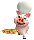 Pig cartoon character with chef hat and pizza Royalty Free Stock Images