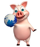 Pig cartoon character with earth Royalty Free Stock Image