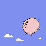 Pig Cartoon Character Floating Or Falling In The Sky Stock Images