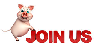 Pig cartoon character  with join us sign Royalty Free Stock Image