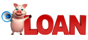 Pig cartoon character with loan and loud speaker Royalty Free Stock Photo