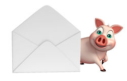 Pig cartoon character with mail Royalty Free Stock Images