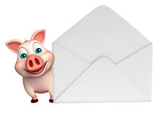 Pig cartoon character with mail Stock Photo