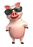 Pig cartoon character with sunglass Stock Images