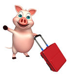 Pig cartoon character  with travell bag Royalty Free Stock Images