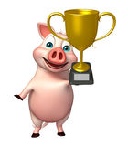 Pig cartoon character  with winning cup Stock Photos