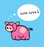 Pig cartoon funny vector illustration Royalty Free Stock Photos