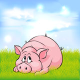 Pig cartoon laying on green grass - vector Royalty Free Stock Photo
