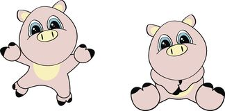 Pig cartoon set Stock Photos