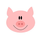 Pig cartoon vector. Simple illustration of a pink pig head Royalty Free Stock Image