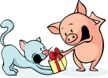 Pig and cat fighting for gift - cheerful illustrations Royalty Free Stock Photography