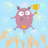 Pig Champion. Pig winner thrown in the air Stock Image