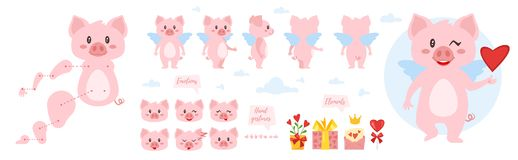 Pig character for animation. Vector cartoon style pig character for animation. Different emotions and hands gestures. Isolated on white background royalty free illustration