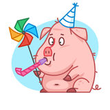 Pig character blowing in whistle Stock Photos