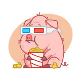Pig character in 3d glasses eating popcorn Royalty Free Stock Photos