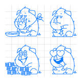 Pig character doodle concept set 2 Stock Image