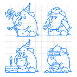 Pig character doodle concept set 1 Stock Image