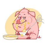 Pig character eating porridge. Illustration, pig character eating porridge, format EPS 8 Stock Images