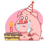 Pig character looks at cake Royalty Free Stock Photography