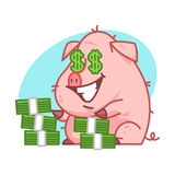 Pig character and lot of money Stock Image