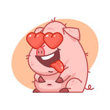 Pig character in love Royalty Free Stock Photography