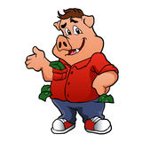 Pig character with money Royalty Free Stock Image
