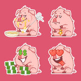Pig character stickers concept set 2 Stock Photos