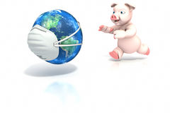 Pig chasing world Royalty Free Stock Image