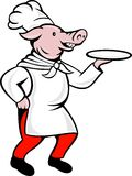 Pig chef cook baker serving plate Stock Photo